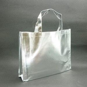 Image 3 - 10 piezas personalizadas película láser Laminado metálico cosido bolso para compras no tejido bolsa Color plata