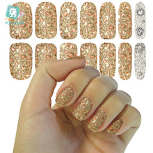 Rocooart K5627 Water Transfer Nail Art Stickers Metallic Petals Gem Pearl Series Decor Nail Decal Manicure