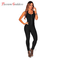 New 2017 Summer Women Sexy Sleeveless Jumpsuit Female Romper Front Zipper O Neck Bodycon Bodysuit Skinny
