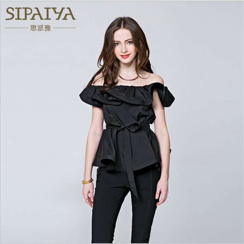 Summer 2018 New Korean Blouse Sexy Ruffled Shirts Women Pary Tank Tops Blouse Female Solid Off The Shoulder Tank Coat A2061