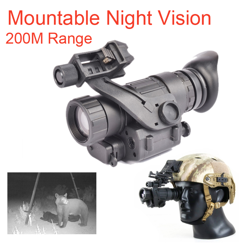 PVS 14 Mountable NV Scope 200M Range IR Night Vision Monocular Head Mount Tactical Night Vision Monocular for Night Hunter