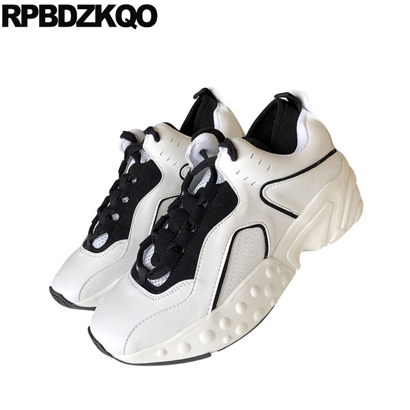 Flats Thick Sole Muffin Black And White Designer Spring Autumn Sneakers Elevator Creepers Platform Shoes Women Trainers Lace Up