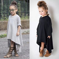 Free Shipping Baby Girl Autumn Dress Max Batwing Loose Asymmetric Long Sleeve Girl Dress For Kids Costume Casual Black and Gray