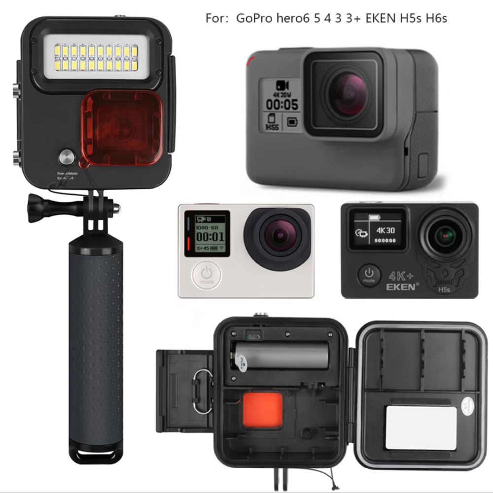 Аксессуары для камеры Go Pro 4 погружение со светодиодным светом с водонепроницаемым корпусом для Gopro Hero 4 GoPro 5 6 eken H9Plus H6s H5s plus H7s h8r