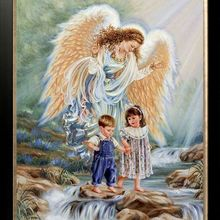 14CT Canvas Angels and Girls Cute Children Kids Cross Stitch