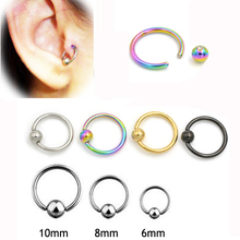 2 pieces 16G Titanium Captive Hoop Bead Rings BCR Eyebrow Tragus Nose Nipple Ring Bar Lips Body Piercing Jewelry(China)