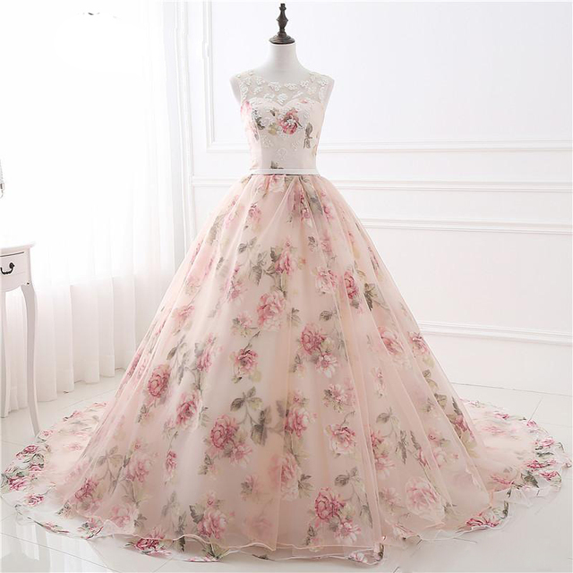 Prom Dresses Women A Line Organza Peach Color Ball Gown Prom Dresses Appliques Floor Length Women Evening Party Dresses Female