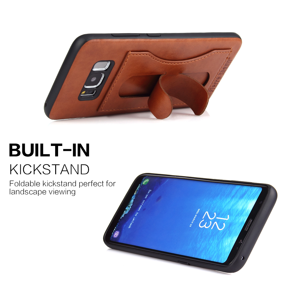 Fierre Shann PU Leather Kick Stand Card Holder for iPhone X 8 Plus 7 6s Plus Case for Samsung S8 Plus S8 Note 8 Back Cover Capa