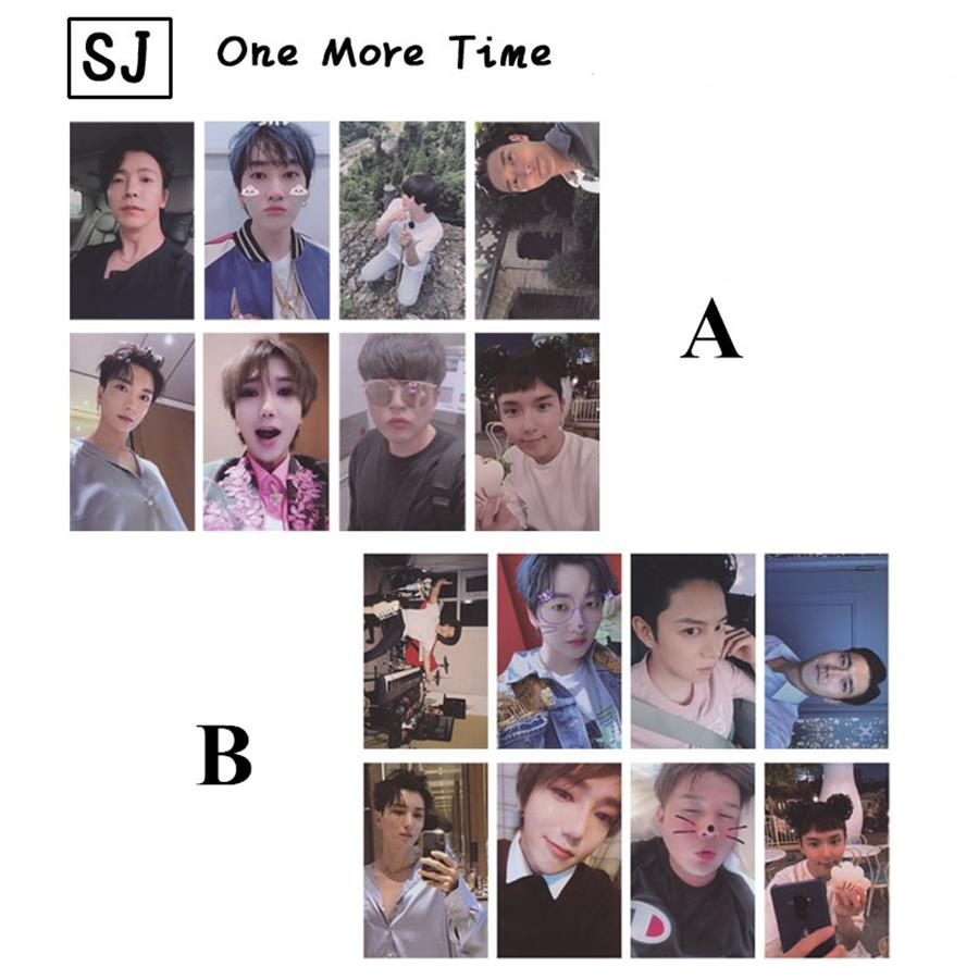Kpop Super Junior One More Time Photo Cards SJ SUJU Autograph Self Made Photocard 8pcs/set