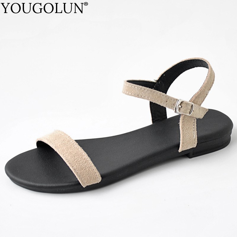 Women Flat Sandals Genuine Cow Suede Summer New Ladies New Flat Sandal Casual Woman Apricot Pink Black Comfortable Shoes A165(China)