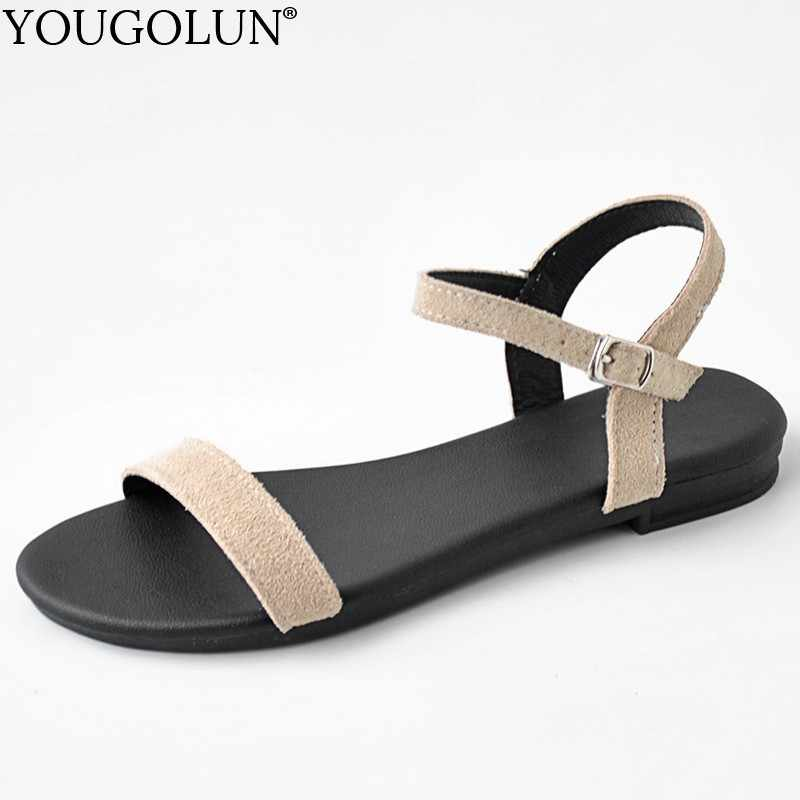 Women Flat Sandals Genuine Cow Suede Summer New Ladies New Flat Sandal Casual Woman Apricot Pink Black Comfortable Shoes A165