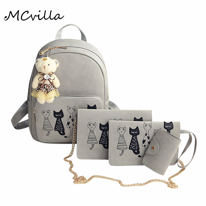 Hot 4 Pieces Set Bear Women Bags Fashion Casual Backpacks School Adolescents Teenage Girls Bags Brand Mcvilla