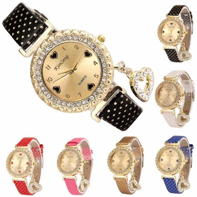 2018 Love Heart Bracelet Watches Women Leather Crystal Quartz Wrist Watch Gold Clock Relojes Mujer Relogio Feminino Montre A60