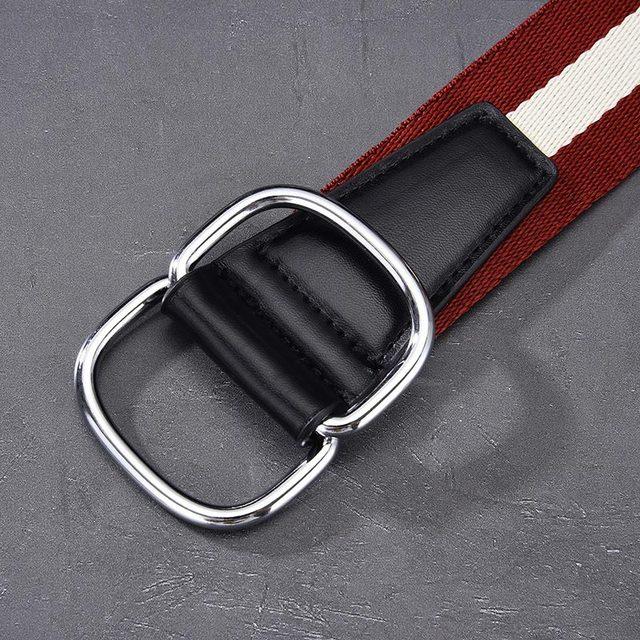 Doppel Ring Schnalle Frauen Leinwand Gürtel Männer Wrap Bunte Streifen Mode Leder Schnalle Student Jeans Gürtel Dünne Dünne Taille Gürtel
