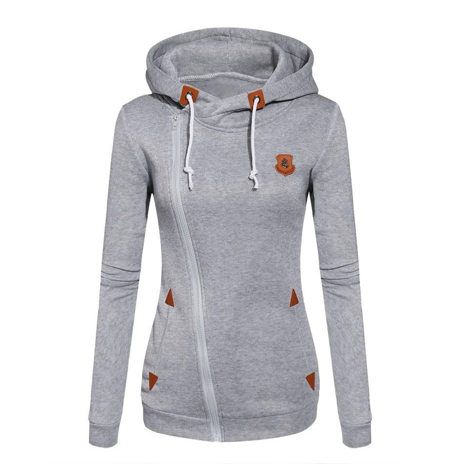 2017 Damenmode Vliese Sweatshirts Damen Mit Kapuze Bonbonfarben Feste Sweatshirt Langarm Reißverschluss Kleidung Sudaderas Mujer