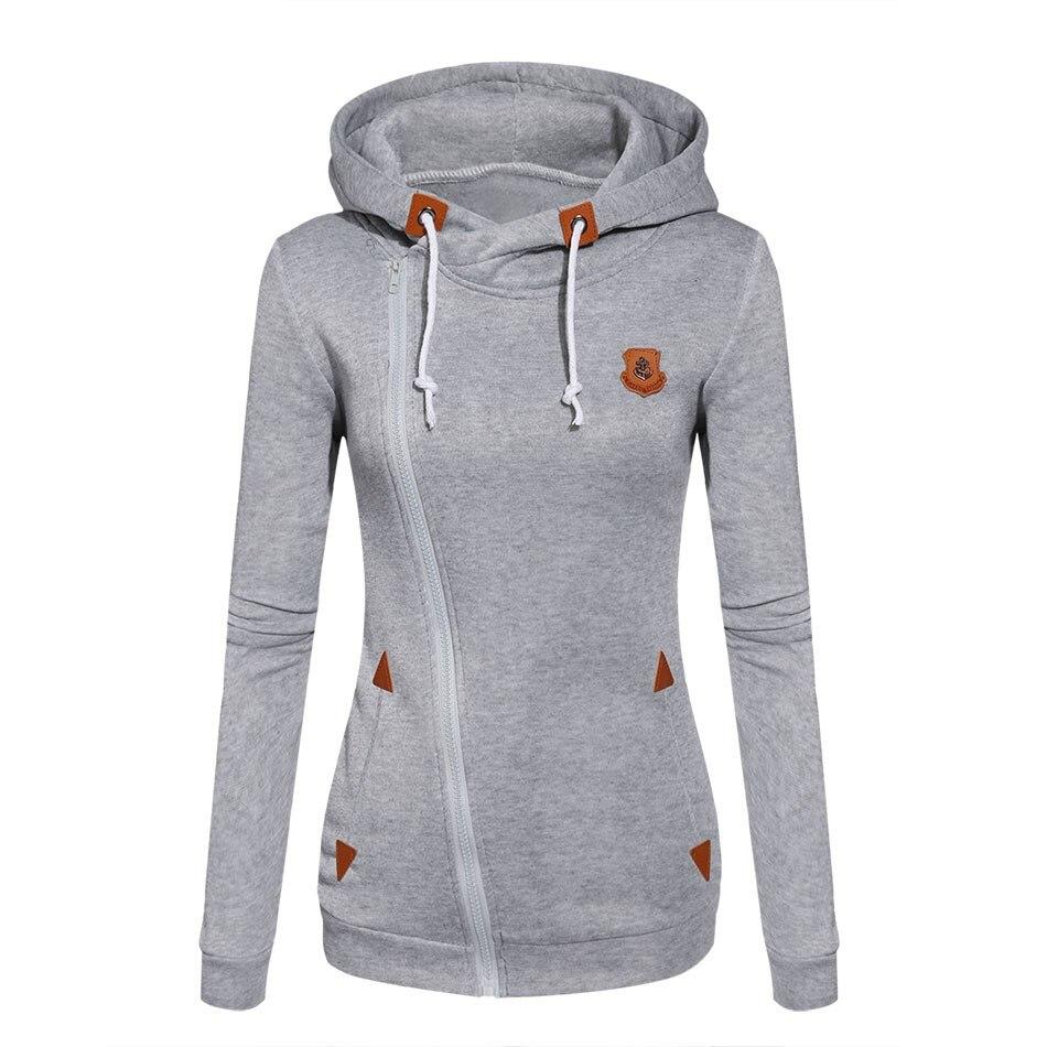 2017 Womens Fashion fleeces Sweatshirts señoras hooded Candy colores sólidos sudadera manga larga zip up ropa sudaderas Mujer