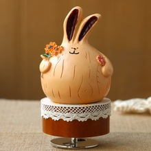 Pluck Flowers Fat Rabbit Music Box Rotating Spring The Music Box Heaven Of City Originality Gift Gift
