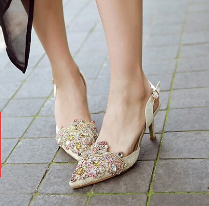 Europe and the United States shoes pointed Baotou shallow mouth color diamond buckle with high-heeled fine with new women's sand europe and the united states 2015 new spring shoes and high heeled shoes asakuchi pointy suede 35 41 code