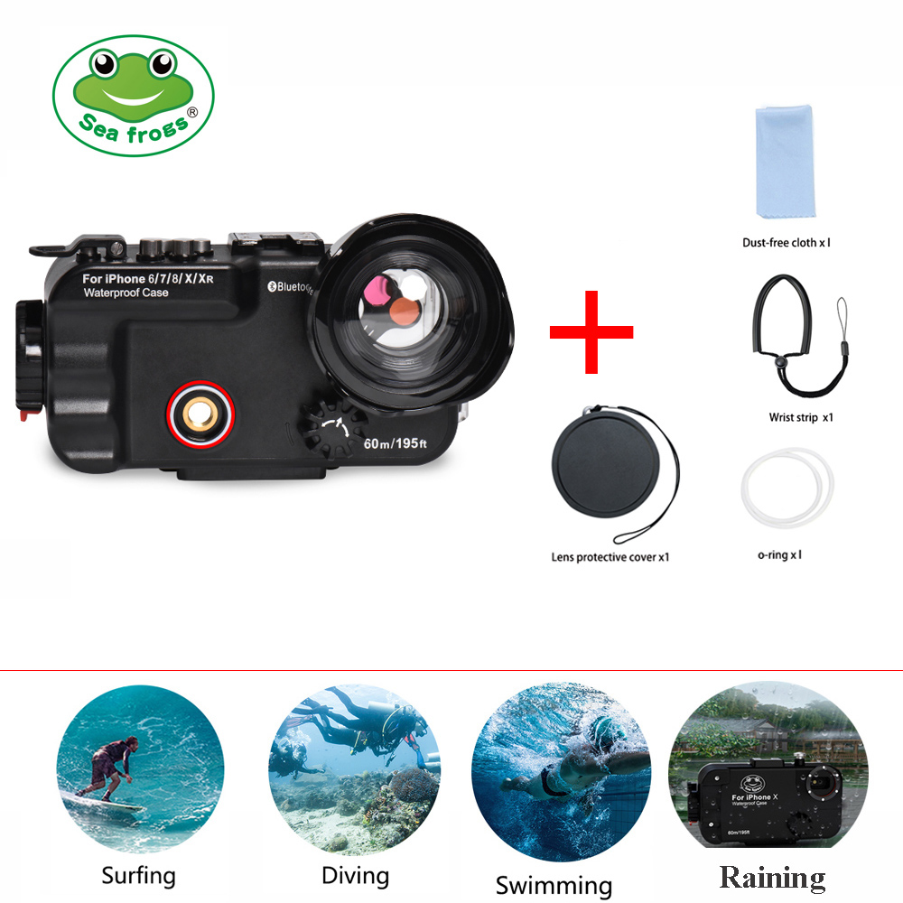 Seafrogs 60m 195ft 4 7 Bluetooth Waterproof Housing Diving Phone Case Cover Bag For iPhone X