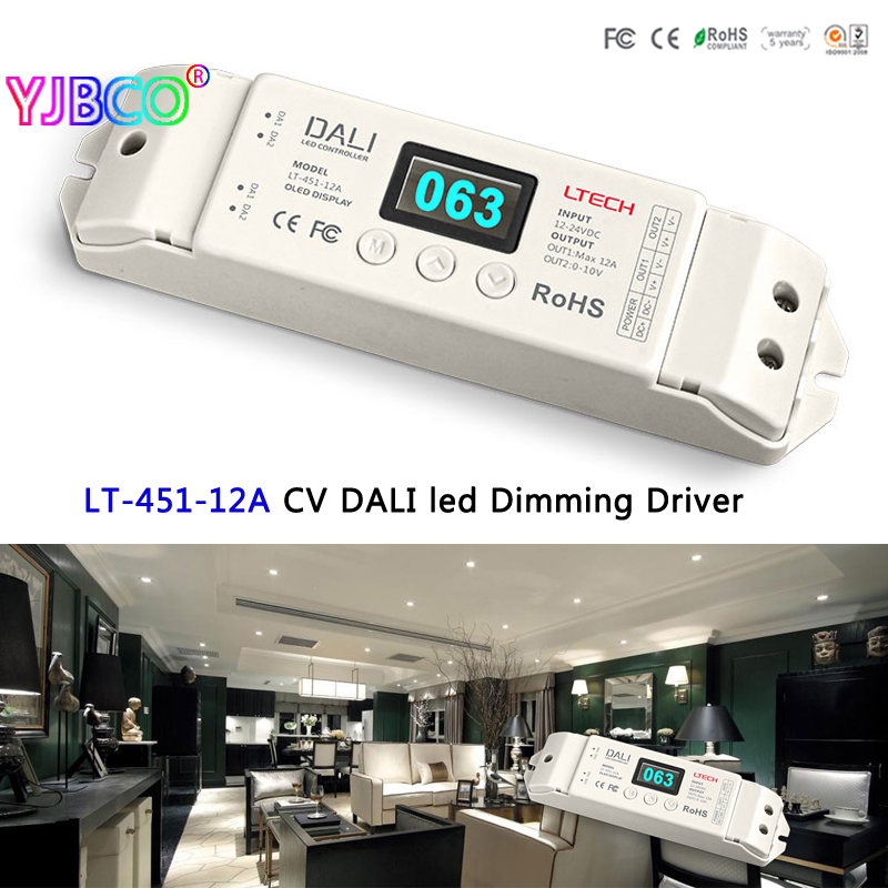 LTECH LT-451-12A Constant Voltage PMW DALI led Dimming Driver;DC12-24V 12A*1CH Output led controller for single color led strip ltech led dali dimming driver lt 408 5a dali to pwm led cv dimming driver for led strip lights dc12 24v input 5a 8ch output