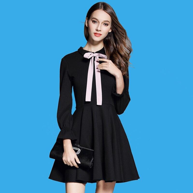 4b8fcc8d202 Весеннее Новое Женское платье Хепберн маленькое черное платье с бантом  короткое маленькое и чистое и свежее