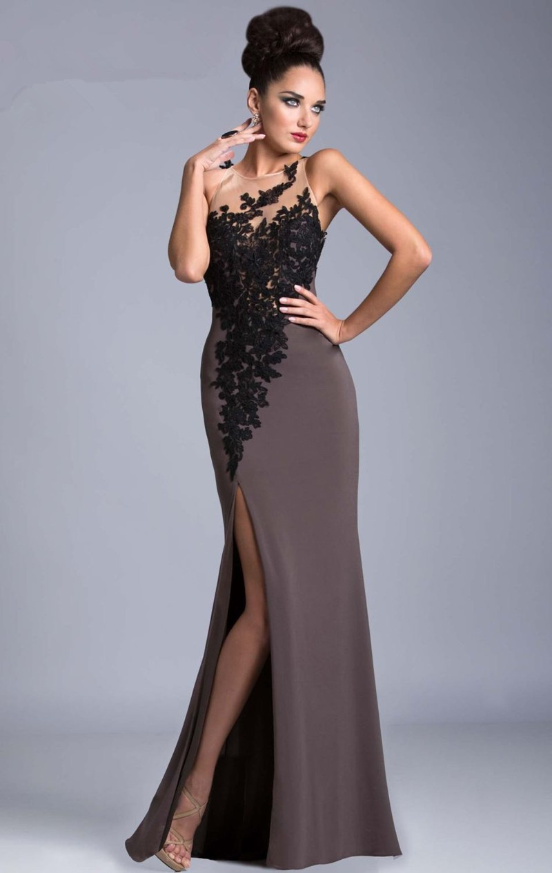 Мода полые длинные вечерние платья 2016 элегантный аппликация кружева высокая щелевая тонкий формальное вечернее платье халат де вечер