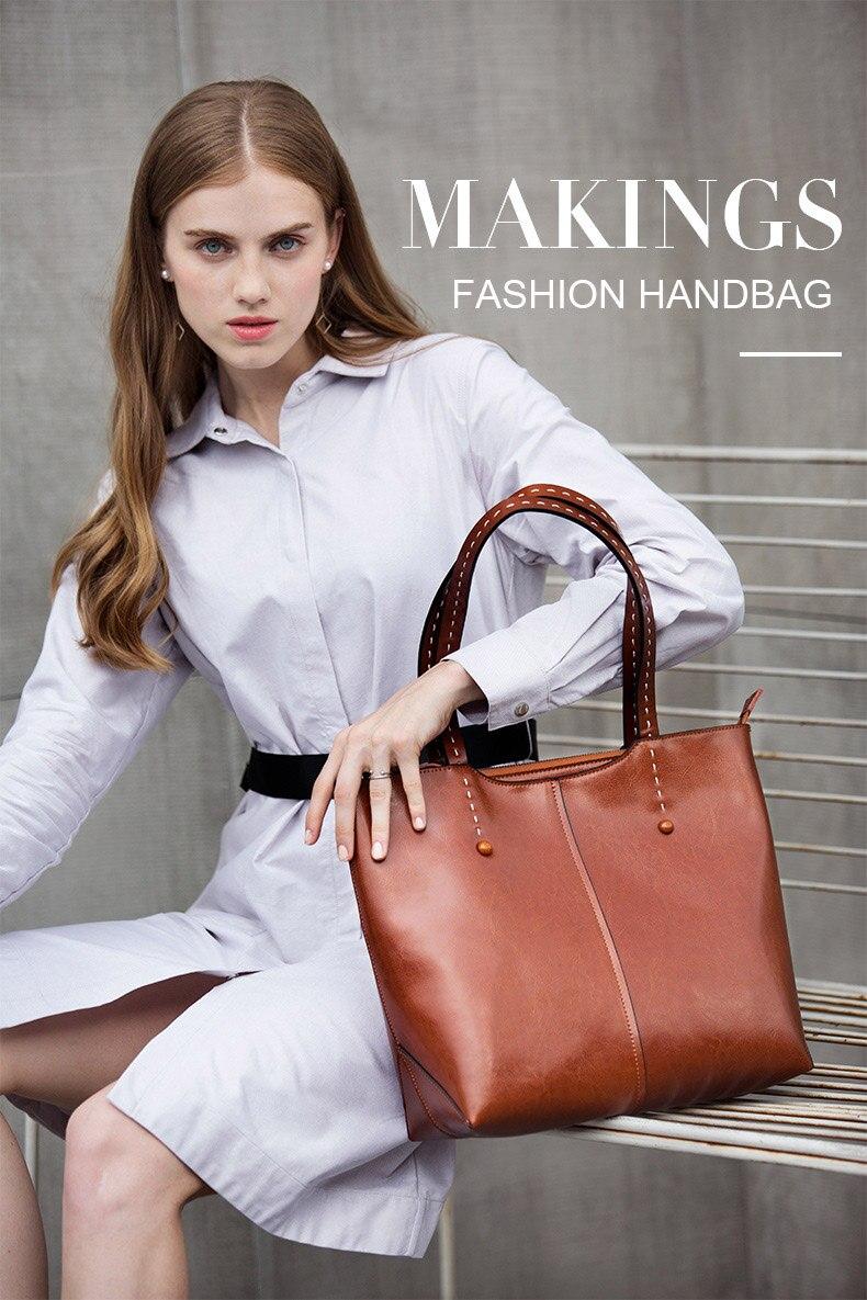 grandes bolsas de couro genuíno feminino totes