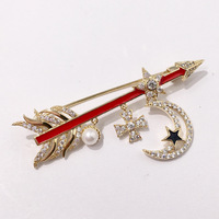 Star and Moon Chars Crystal Brooch for Women Trendy Copper Gold Metal with Red Arrow Women Brooch Pin