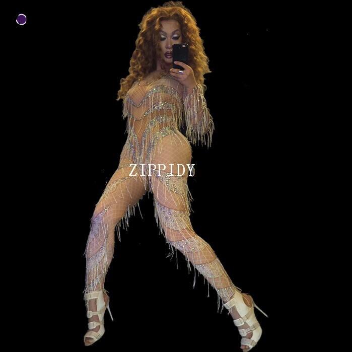 Сексуальный комбинезон с кисточками телесного цвета, женские обтягивающие леггинсы, Одежда для танцев, боди, верхняя одежда, камни, полый ко...