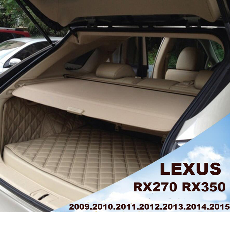 Car Rear Trunk Security Shield Cargo Cover For LEXUS RX270 RX350 2008-2015 PARCEL SHELF SHADE TRUNK LINER SCREEN RETRACTABLE car rear trunk security shield shade cargo cover for hyundai creta ix25 2014 2015 2016 2017 black beige