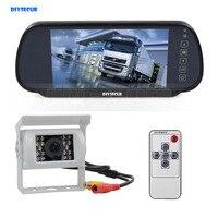DIYSECUR 7inch Mirror Monitor Car Monitor Waterproof IR Night Vision CCD Rear View Car Camera White for Truck Caravan Bus Van