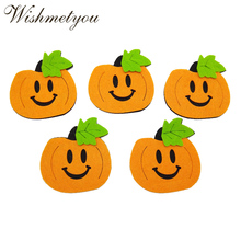 купить WISHMETYOU 5pcs 8CM Funny Ghost Halloween Pumpkin Free Cutting Felt For Handmade Girls Hairpins Hat Diy Party Festival Crafts по цене 120.11 рублей
