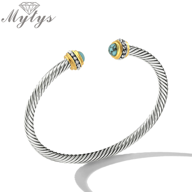 Mytys 6mm Cable Wire Bracelets Open Cuff Hand Twisted Bangle for Women Shining Silver Color Fashion Trendy Jewelry Gift B1153