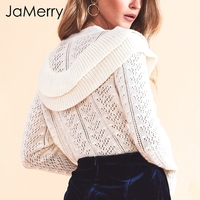 JaMerry Hollow out autumn sweater pullover 2018 Elegant ruffles slim black sweater Women streetwear casual winter jumpers female