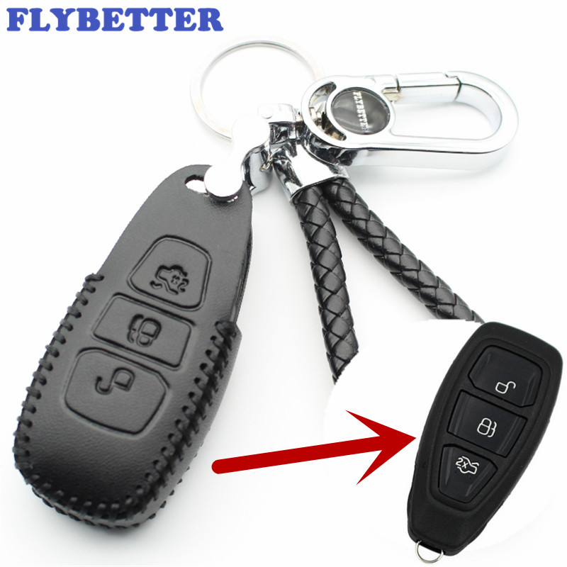 FLYBETTER Genuine Leather 3Button Smart Key Case Cover For Ford Focus/C-Max/Mondeo/Kuga/Fiesta Car Styling (B) L1696