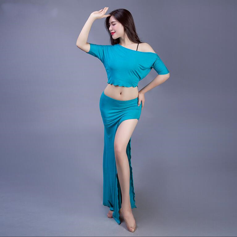 2019 Summer Modal Belly Dance Costume Round Neck Top and Slit Skirt Comfortable Loose Adult Dance Clothes Peacock Blue White