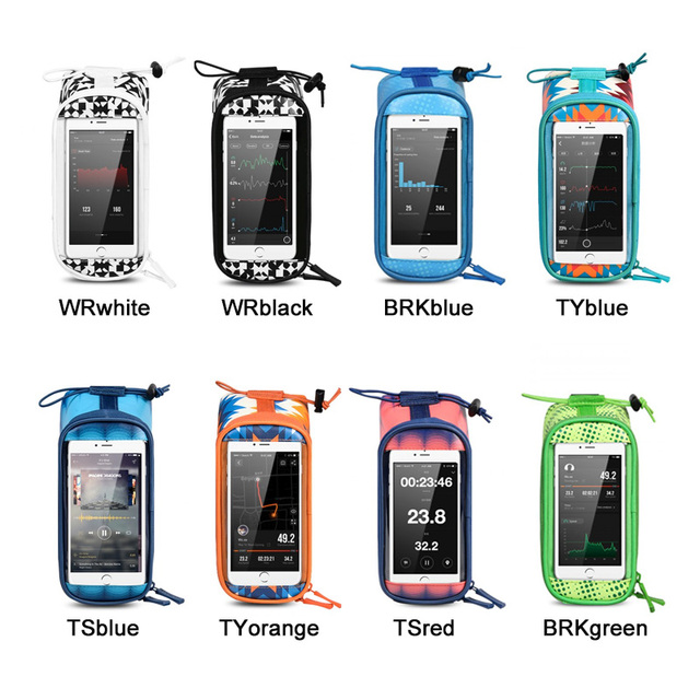 ROSWHEEL Bicycle Bags Frame Front Head Top Tube Waterproof Bike Bags&Double IPouch Cycling For 5.5-6.2 in Cell Phone Touch