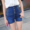 2016 Pantalones cortos mujer Femme Summer Plus Big size 4XL XXXXL Breasted High Waist Shorts Women Elasticity Denim Short Jeans