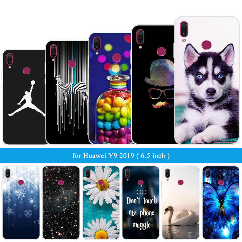 Case for Huawei Y9 (2019) Black Back Matte Cover 6.5 inch for Huawei Enjoy 9 Plus Transparent Silicon Soft Funny Cat Back Cover