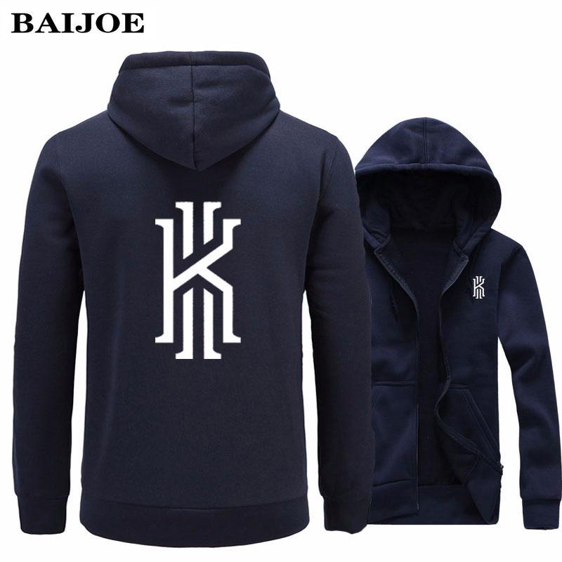 2017 New Fashion Kyrie Irving Print  Mens Hoodies Sweatshirts Hip Hop Hoodie Black Jacket Men Clothes Hombre Marca Hooded monochrome