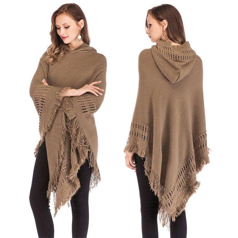 Coat Outwear Knitted-Wrap Cowl-Neck Tassel-Slash Pullover Tops Women Irregular Shawl
