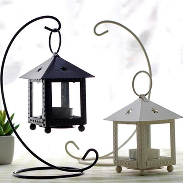 Iron Tea Light Holder House Shape Metal Candle Holder Classic Iron Lantern  With
