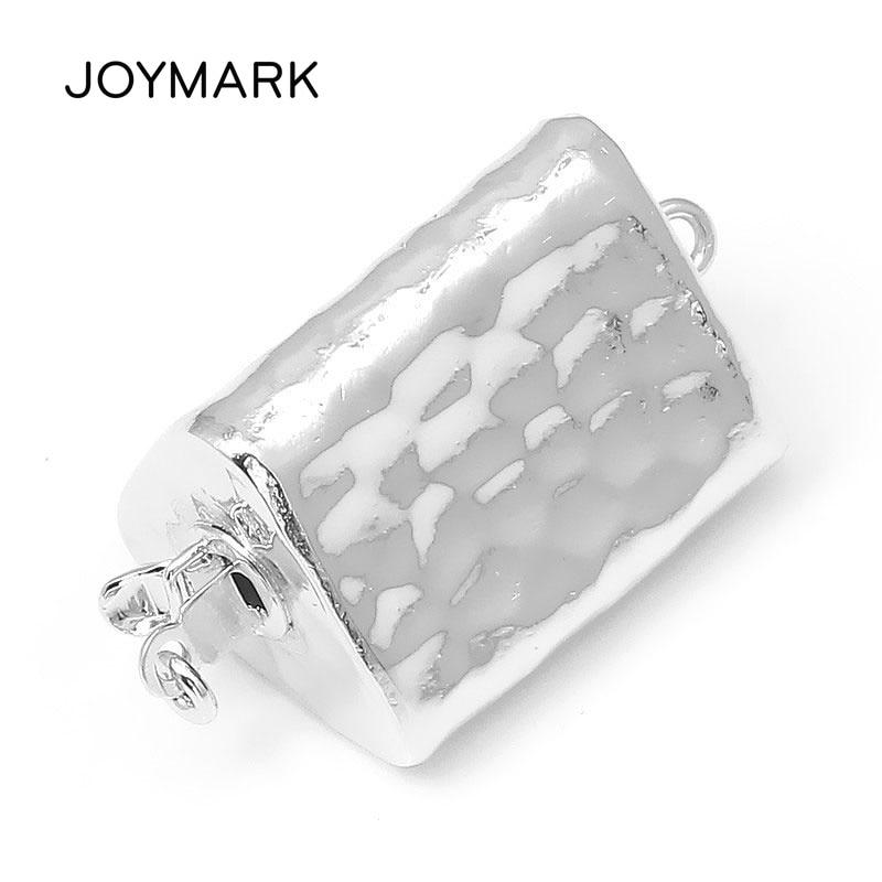 JOYMARK 14x25mm Triangle 925 en argent Sterling boîte fermoir connecteur perle Bracelet collier bijoux accessoires SC-BC252