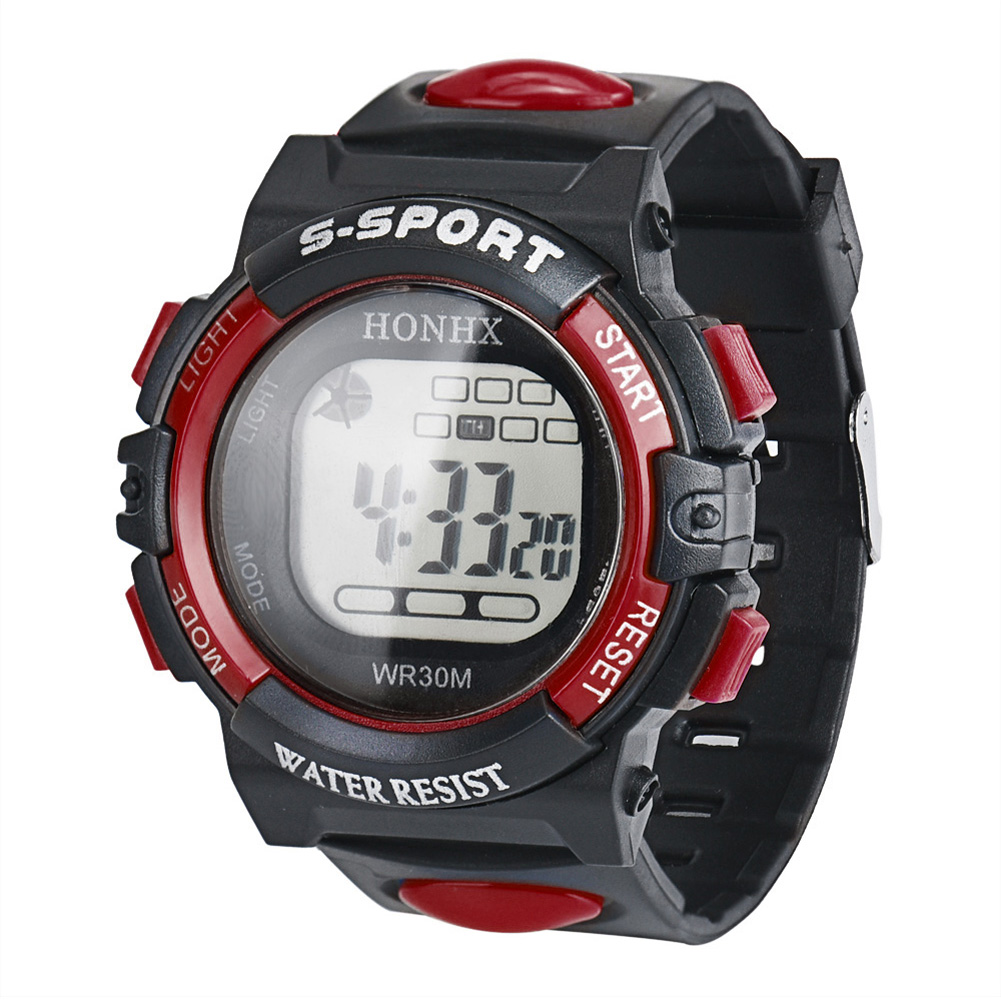 Fashion LCD Children Watches Waterproof Sport Digital Watches Kids Boys Digital Stop Watches Date Rubber Wristwatch