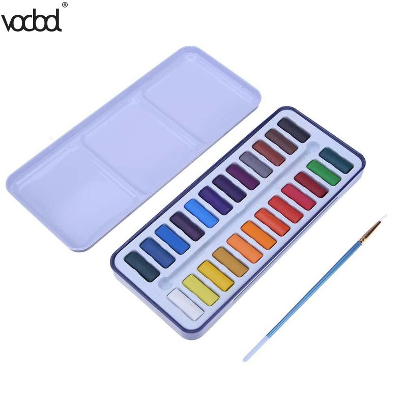 12Color/Box Solid Watercolor Paint Pigment Set with Paint Brush Metal Box Painting Drawing Tool School Stationgery Art Supplies