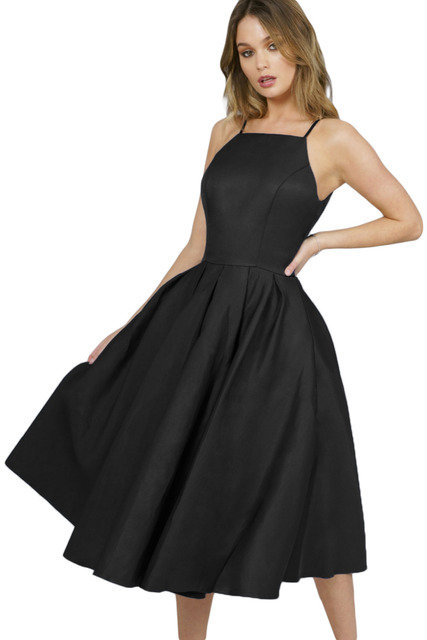 formal night party Summer Clothes fashion Cute Fairy Skater Dresses For  Women Black Spaghetti Strap High Neck Midi Dress 610866 5033751e19