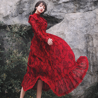 Lace Dress Princess Stand Collar Vintage Gothic Floral Patterns Embroidery Red Dress Long Sleeve High Waist Midi Dresses TA1311