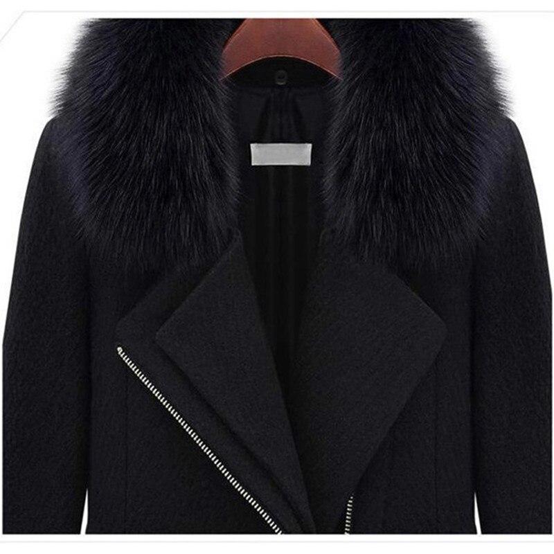 J Col Fermeture 5xl Mode Fourrure Yagenz Hiver Manteau Vêtements Plus 403 Taille Glissière À De Laine Black Femmes Manches Longues Longue La WS7fvx