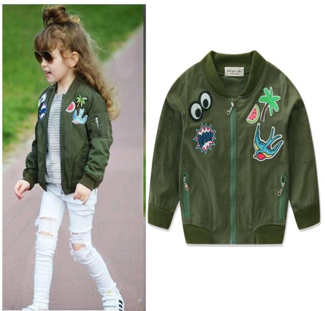 705dc0c36 Baby girls clothes Army green outerwear kids coats Children s ...