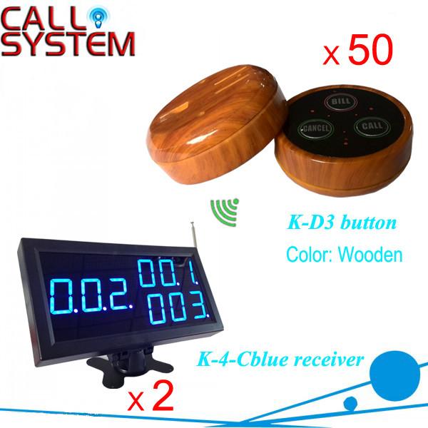 K-4-Cblue+D3-Wooden 2+50 Wireless Waiter Call System